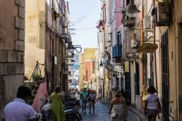 A busy street in Procida Island, Naples, Italy
