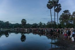 Tourists gather in Angkor Wat