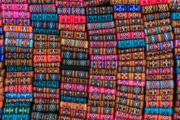 Colourful handicrafts in Otavalo, Ecuador.